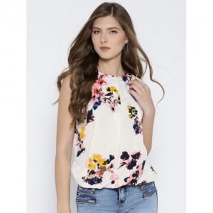 RARE Women Off-White & Peach-Coloured Printed Blouson Top