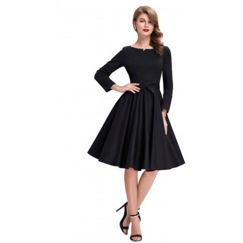 DIEGO  black Satin Solid A-line  Skater dress