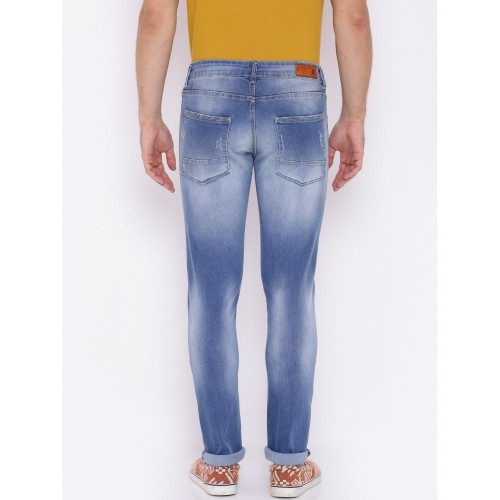 d2a8e742 ... American Crew Men Blue Slim Fit Mid-Rise Low Distress Stretchable Jeans  ...