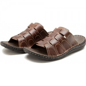 Red Tape Brown Leather Casual Chappals