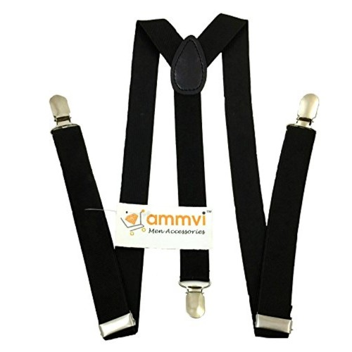 Ammvi Creations Solid Black Suspenders for Men