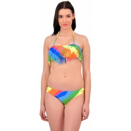 N-Gal Women's Rainbow Tassel Detachable Halter Beach Bikini,NG40957-Multi