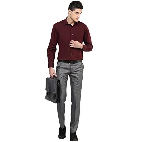 Buy Routeen Jetta Grey Slim Fit Formal Pants For Men Online   Looksgud.in