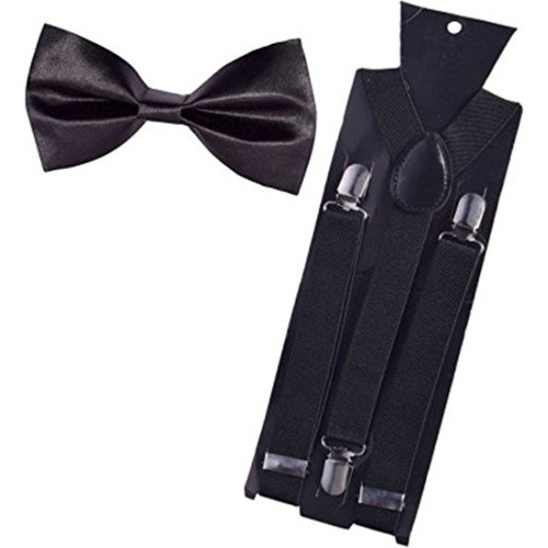 WHOLESOME DEAL Men's Black Suspender and Neck Bow Tie