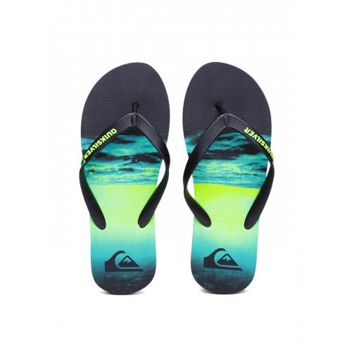 Quiksilver Men Black & Green Printed Molokai Flip-Flops