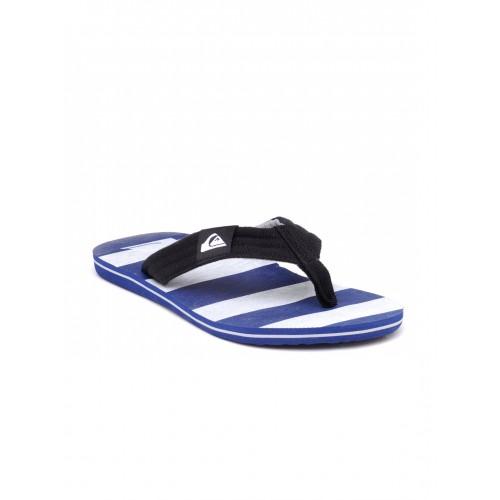 Quiksilver Men Black & Blue Striped Flip-Flops