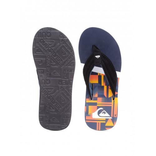 Quiksilver Men Black & Orange Printed Flip-Flops