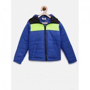 YK Boys Blue & Black Colourblocked Quilted Hooded Jacket