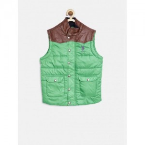 U.S. Polo Assn. Kids Boys Green Sleeveless Puffer Jacket