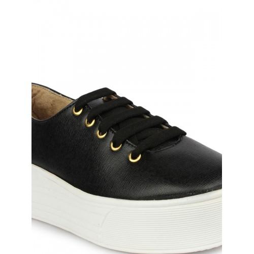 Shoetopia Women Black Flatform Sneakers