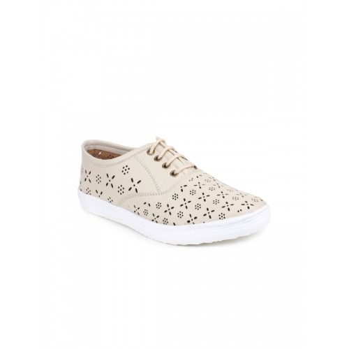 Shoetopia Women Cream-Coloured Sneakers