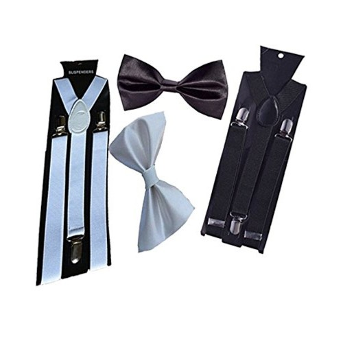 Sunshopping unisex white and black stretchable suspenders with bow combo (r-241)