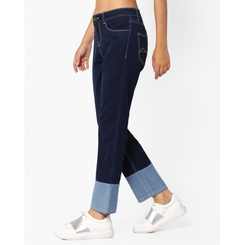AJIO Mid-Rise Denims with Panelled Hems