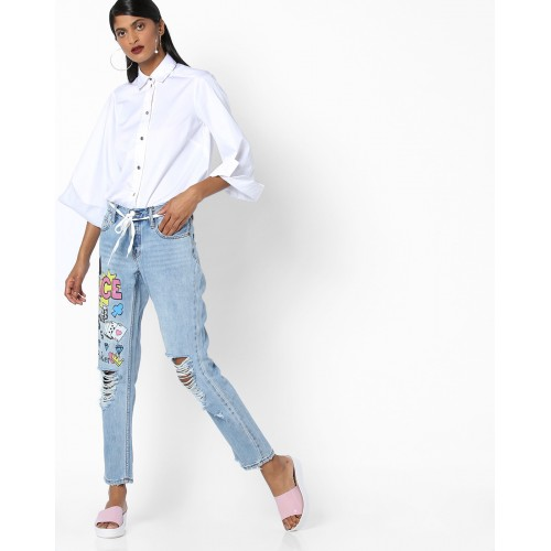 TALLY WEiJL Printed Distressed Jeans