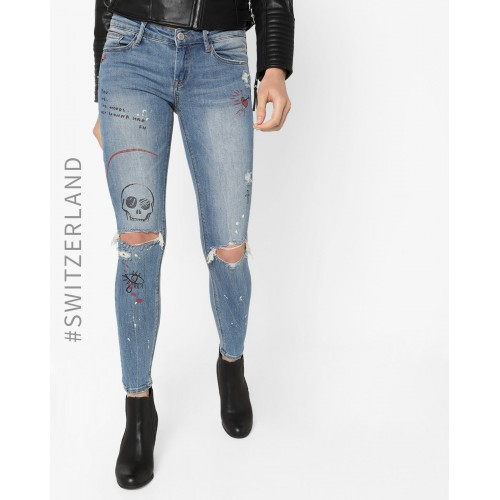 TALLY WEiJL Distressed Skinny Jeans with Novelty Print