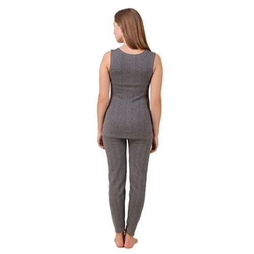 Quilted Thermal Set : Sleeveless Top + Trouser + free Matching Cap (Dark grey)