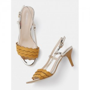 DressBerry Women Mustard Yellow & Gold-Toned Solid Sandals