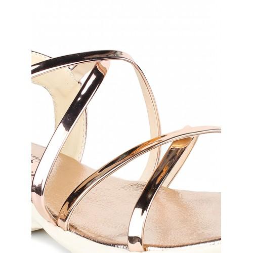 Shoetopia Women Copper-Toned Solid Wedges