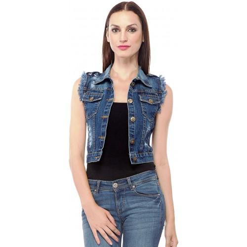 2f504259754 Buy Clo Clu Blue Denim Sleeveless Solid Jacket online