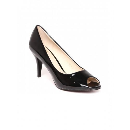 cea5a59567 Buy Carlton London Women Black Solid Peep-Toes online | Looksgud.in