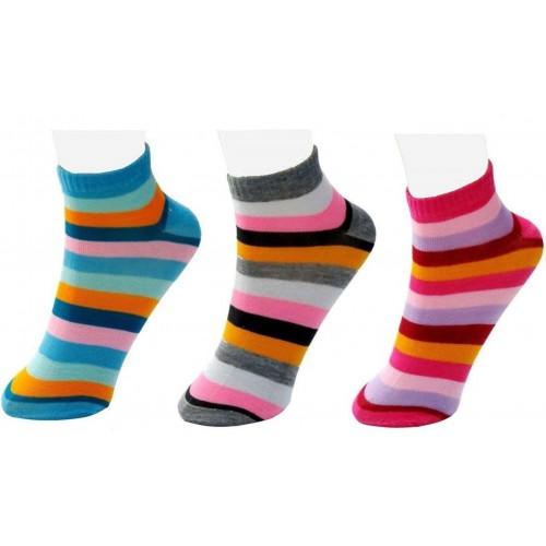 Neska Moda Women's Striped Ankle Length Socks
