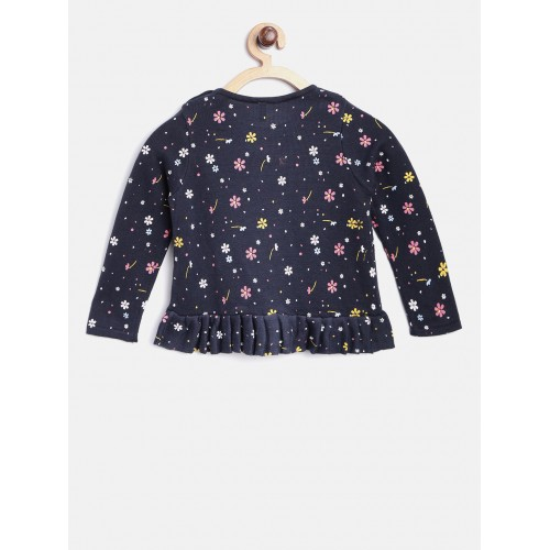 United Colors of Benetton Girls Navy Floral Print Sweater