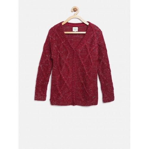 fdc571ef272a Buy Pepe Jeans Girls Red Cable Knit Cardigan online