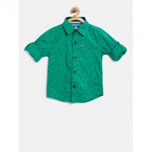 612 league Boys Green Printed Shirt