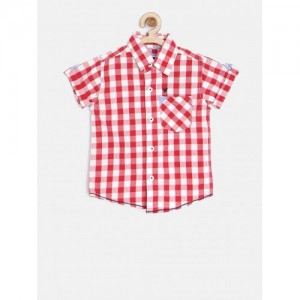 612 League Boys Red Gingham Check Casual Shirt