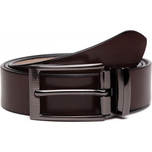 U+N Men & Women Formal Brown Genuine Leather Belt