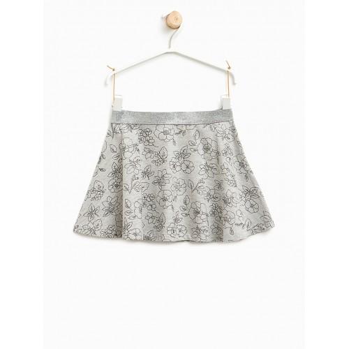 758f624c0e Buy OVS Girls Grey Melange Floral Print Flared Skirt online ...