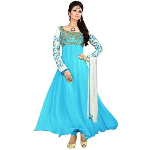 de0b44e87 Snapdeal Women s Karishma Sky Blue salwar suit dupatta party wear  semi-stitched Dress Material (