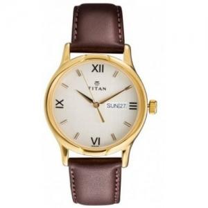 Titan NH1580YL05 Brown Round Leather Analog Watch