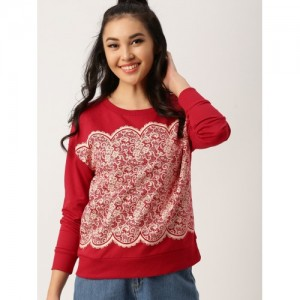 DressBerry Red Cotton Printed Sweatshirt