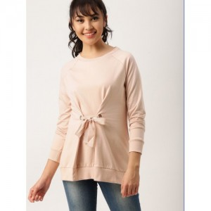 DressBerry Pink Cotton Solid Sweatshirt