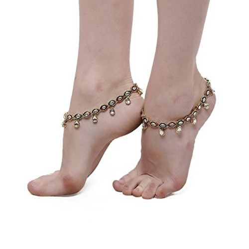 Shining Diva Beautiful Pair of Kundan Anklet For Women