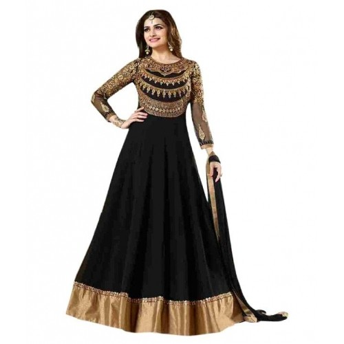 Black Cotton & Net Lace Work Party Wear Gown