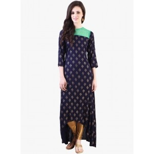Libas Blue Printed Rayon Ankle Length Kurta