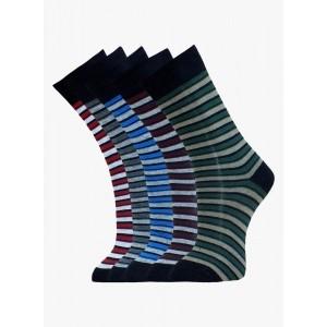 Marc MultiColoured Cotton Striped Men's Socks Pack Of 5