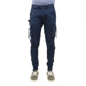 ZACHARIAS Blue Cotton Solid Slim Fit Cargos