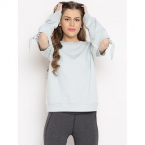 FOREVER 21 Mint Green Cotton Solid Sweatshirt