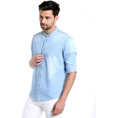 Dennis Lingo Men's Solid Casual Denim Light Blue Shirt