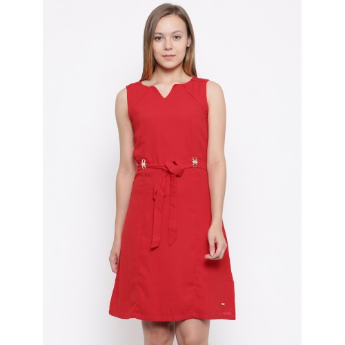 Park Avenue Red Coloured Solid Shift Dress