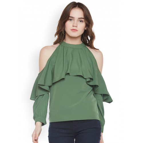 83e4446cb72dab Buy Popnetic Women Olive Green Solid Cold Shoulder Top online ...