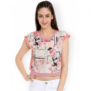 109F Women Peach Printed Crop Top