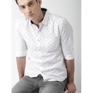 HIGHLANDER Men White Slim Fit Printed Casual Shirt