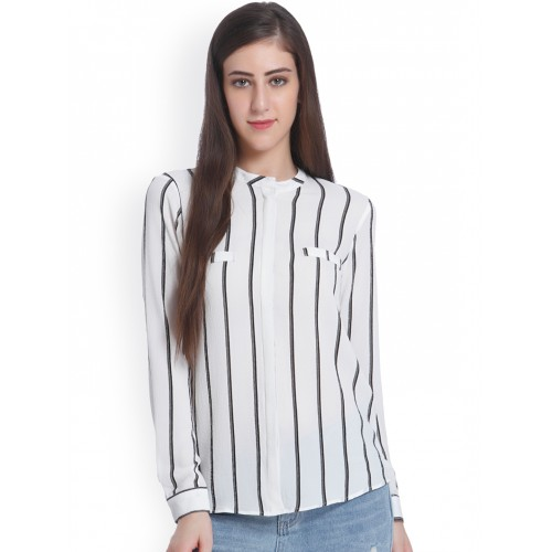 Buy ONLY Women Off-White   Black Regular Fit Striped Casual Shirt ... ce023f84d
