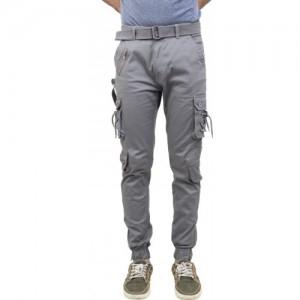 ZACHARIAS Gray Cotton Solid Slim Fit Cargos