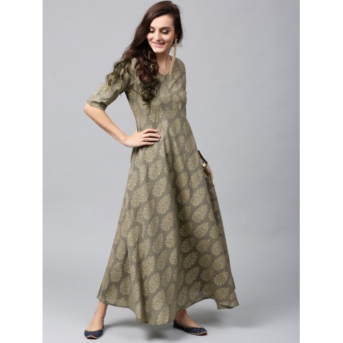79d3f96f9e1 Buy AKS Women Grey   Golden Printed Maxi Dress online