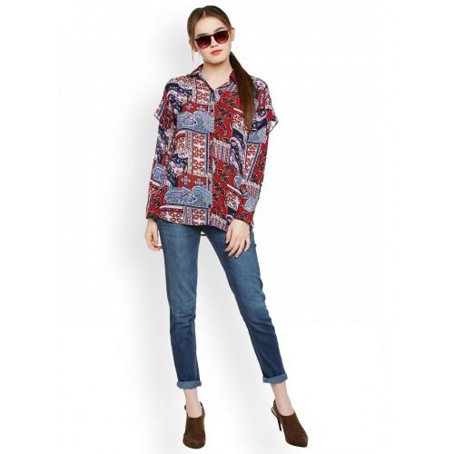 Oxolloxo Women Multicoloured Comfort Regular Fit Printed Casual Shirt